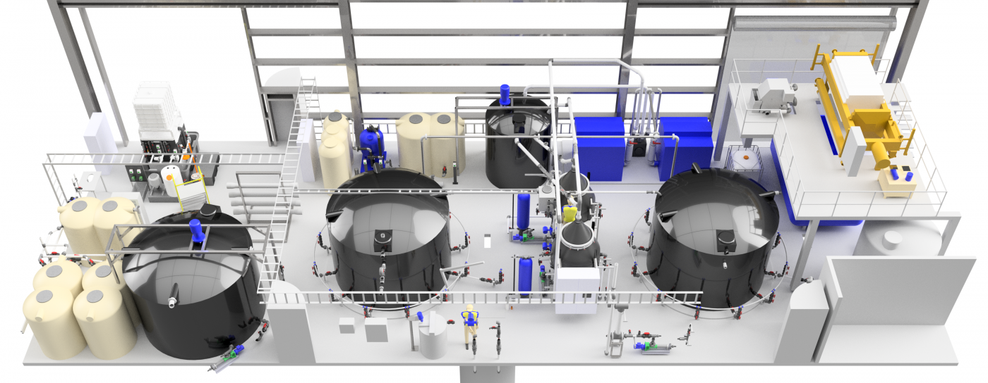 industrial wastewater treatment plant 3D CAD model
